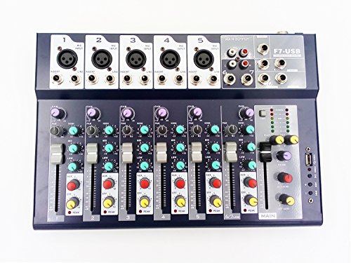 Weymic Professional Mixer   7-Channel 2-Bus Mixer with USB disk Input 48V Phantom Power for Recording DJ Stage Karaoke Music Application