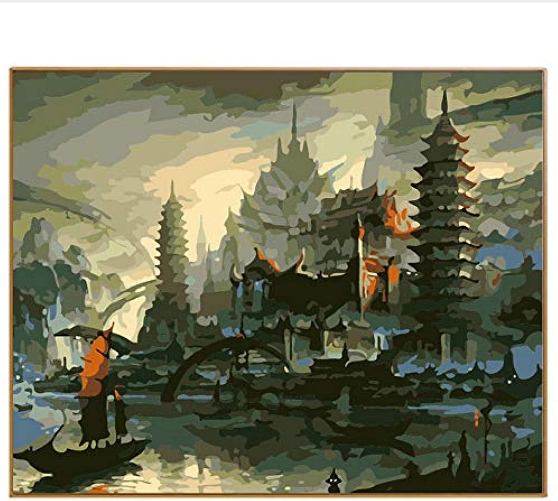 DIY Modernes Abstraktes Ölgemälde Acryl Ölgemälde Durch Zahlen Zeichnung Geschenk Dekoration Bilder Seaview Wall Arts Castle, Mit Rahmen, 40x50cm B07Q1ZWG44 | Outlet Store Online