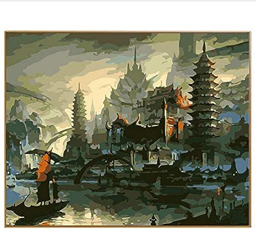DIY Modernes Abstraktes  em e Acryl  em e Durch Zahlen Zeichnung Geschenk Dekoration Bilder Seaview Wall Arts Castle, Mit Rahmen, 50x6cm