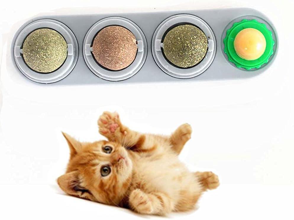 ENYOU Bola de hierba gatera para lamer gatos, bola natural comestible de la pared de la catnip de la pared de la catnip Snacks para gatos gatitos