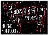 Mini Poster Friend Not Food Vegan Vegetarier 44 x 32 cm