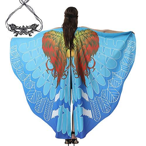 Kobay-Damen Schmetterling kostüm, KOBAY Frauen Weiches Gewebe Schmetterlingsflügel Schal Fee Damen Nymph Pixie Kostüm Zubehör für Show/Daily/Party (197 * 125CM, Blau-2)