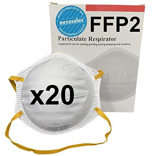 Novasalus 20x Máscarillas respiradores de protección FFP2 (sin válvula) con forma de copa, certificadas CE 0082 - caja de 20 mascaras protectoras