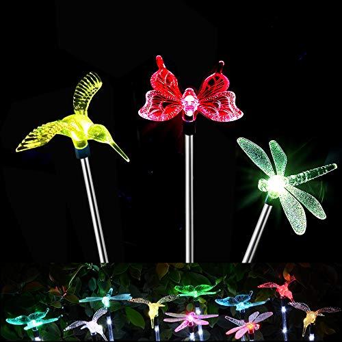 (Packung mit 3) Led Solarleuchte Garten, Solar Powered Farbe Stake Schmetterling Licht, Wasserdichte Led Licht Aussen (Schmetterling, Kolibri, Libelle)