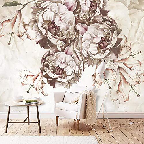 3D Carta da Parati Moderna Murali Muro Fiore di peonia rosa marrone Fotomurale 400x280 cm -8 pieces fotomurali Soggiorno camera letto tv sfondo parete carta da parati