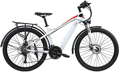 Bicicleta eléctrica de nieve, Bicicleta de montaña 21 Velocidad E Bicicleta 27.5 pulgadas Moda Aluminio Aleación Luz Híbrido Híbrido Bicicleta Bajo Consumo de Energía Doble disco Freno Bicicletas eléc