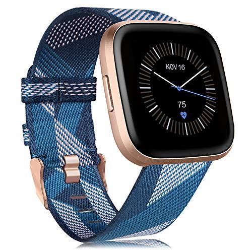 Onedream Kompatibel mit Fitbit Versa/Versa 2 / Versa Lite/Versa Se Armband Gewebtes für Frauen Männer, Band Nylon Verstellbares Ersatzarmband Kompatibel mit Fitbit Versa Smartwatch (2-Blau)