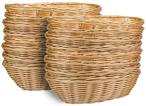 Yesland 16 Pack Plastic Oval Basket, Food Storage Basket & Fruit Basket, 8-3/4 x 6-1/4 x 2-3/4 Inches Basket Bin for Kitchen, Restaurant, Centerpiece Display