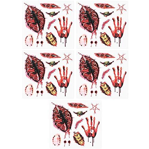 Naroote Tatuaje Temporal a Prueba de Agua 3D Spider Body Art Sticker de Transferencia para Halloween(#2)