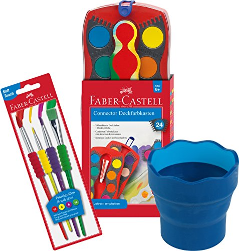 Faber-Castell - Farbkasten CONNECTOR mit 24 Farben, inklusive Deckweiß, 4 Soft-Touch Pinseln und Wasserbecher in blau
