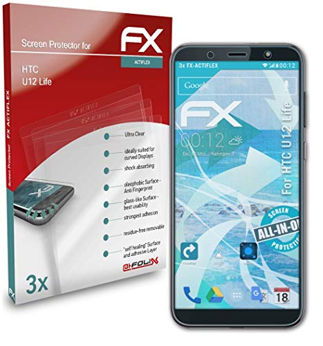 atFolix Schutzfolie kompatibel mit HTC U12 Life Folie, ultraklare & Flexible FX Bildschirmschutzfolie (3X)