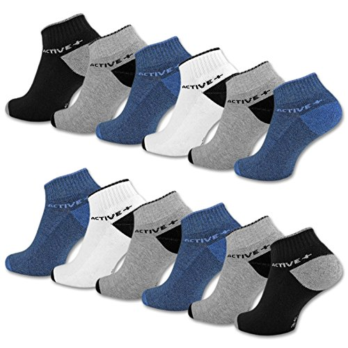 6 oder 12 Paar SPORT Sneaker Socken Herren mit verstärkter Frotteesohle Sportsocken Baumwolle - 16210 (43-46, 12 Paar | Farbmix)