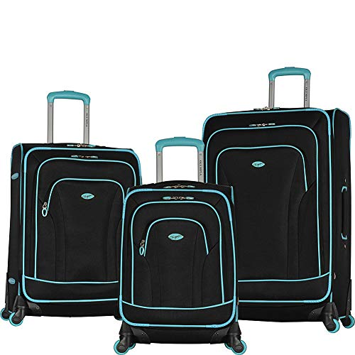 Olympia Santa Fe 3-Piece Exp. Luggage Set, Black+Mint