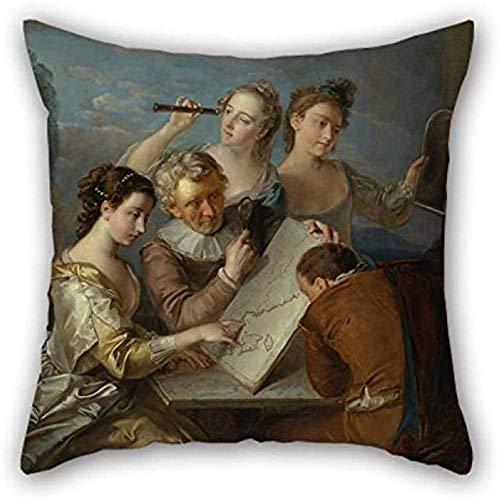 Fodere per cuscino della pittura a olio Philippe Mercier-Il senso della vista per lui Panca Coppie per bambini Soggiorno Ragazzo amico 45X45 cm