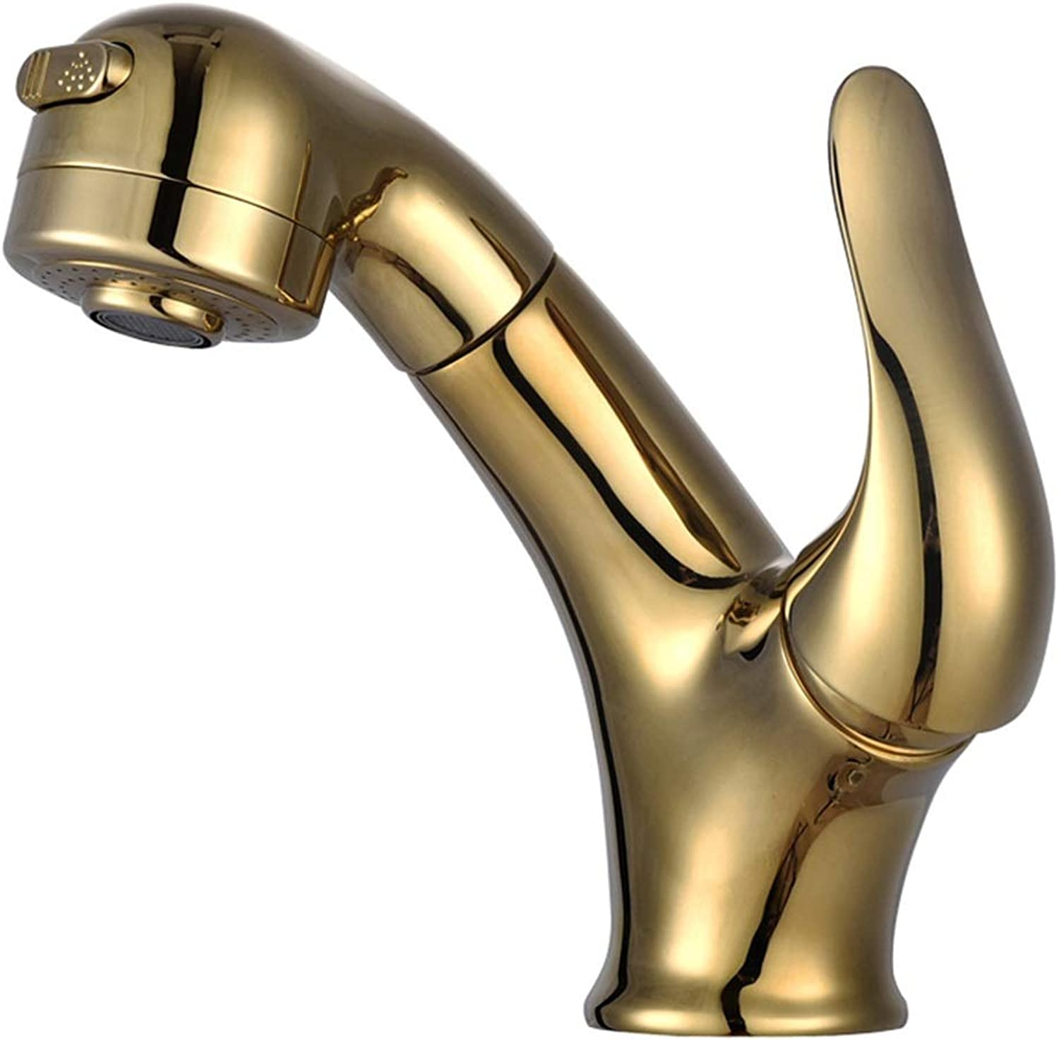 LCLZ Perfect Copper Hot And Cold Pullable Lavatory Faucet pink gold Retractable Shampoo Wash Basin Faucet (color   gold)