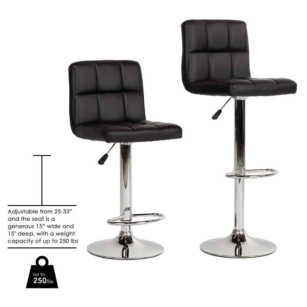 BestOffice Bar Stool Barstools Bar Chairs Counter Height Adjustable Swivel  Stool with Back PU Leather Kitchen Counter Stools Set of 9 Dining Chairs ...