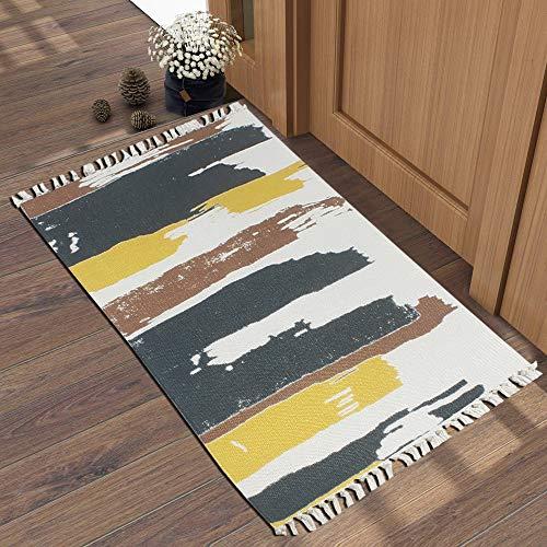 Bless International Haustier-Teppich für Zuhause und Küche, ohne Akzente, für Kinder und Wohnzimmer, Heimdekoration, Picknick, Reisen Bohemien Farbstreifen an der Wand