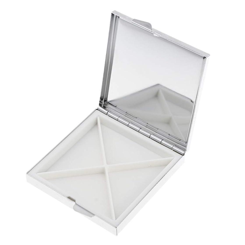Perfeclan 化粧パレット 空 メイクパレット ケース ミラー付き ロック可能 金属+ガラス シルバー