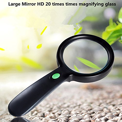 20 keer Handheld Vergrootglas 12 Led Met Licht HD Bril Hoge Vergroting Optische Lens Oude Man Lezen Vergrootglas