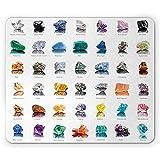 Tappetino per mouse Composizione di pietre preziose con nomi Occhio di tigre Zolfo e rubino Geologia minerale Tappetino antiscivolo in gomma