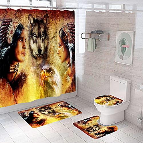 YRWDNV Juego De Cortina De Ducha 4 Piezas Animales Tribales Rojo Negro Amarillo Tapa de Inodoro, Alfombra de baño, Juego de Cortina de Ducha 180 x 200 cm