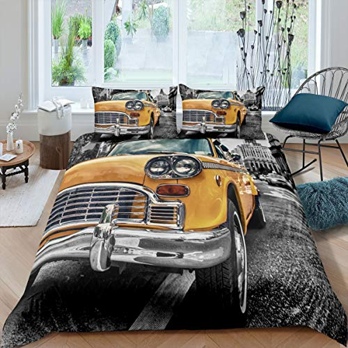 Copripiumone per camion, City Building, copripiumino giallo per auto, per bambini, ragazzi, adolescenti, adulti, 2 pezzi, con 1 federa per cuscino, per letto singolo, grigio e bianco
