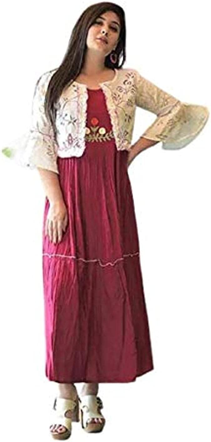 Courier shipping free shipping GE Export Women's Printed Rayon Embroidered with Anarkali Super special price Kurta