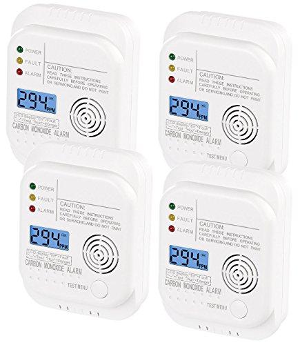 VisorTech Kohlendioxidmelder: Kohlenmonoxid-Melder mit LCD-Display, 4er-Set (Kohlendioxid Warner)