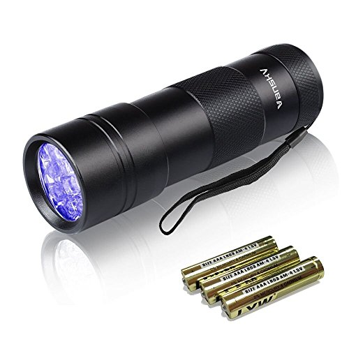 Black Light UV Flashlight,Vansky Blacklight 12 LED Urine Detector For Dog/Cat/Pet Urine & Dry Stains and Bed Bug On Carpets/Rugs/Floor,Matching with Pet Odor Eliminator