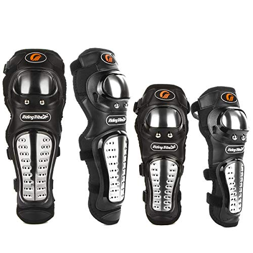 4Pcs Adults Alloy Steel Motorcycle Knee Pads Elbow Guards Motocross Knee Shin Pads Protector