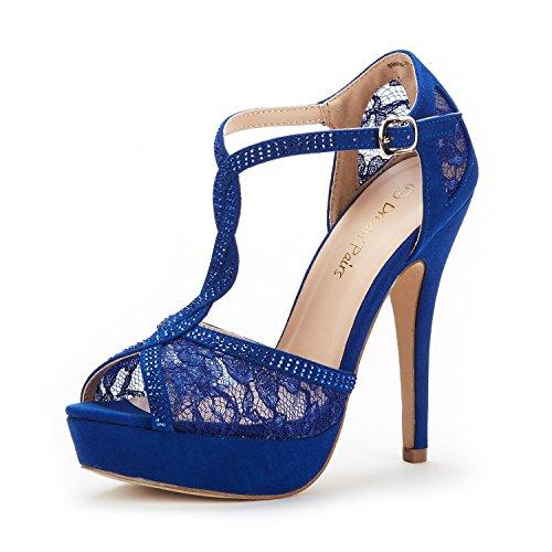 DREAM PAIRS Women's Swan-16 Royal Blue Fashion Stilettos Peep Toe Pump Heeled Sandals Size 8 B(M) US
