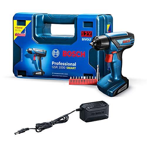 Parafusadeira e Furadeira a Bateria Bosch GSR 1000 Smart, 12V, com Bateria, Carregador BIVOLT e Kit de Acessórios em Maleta