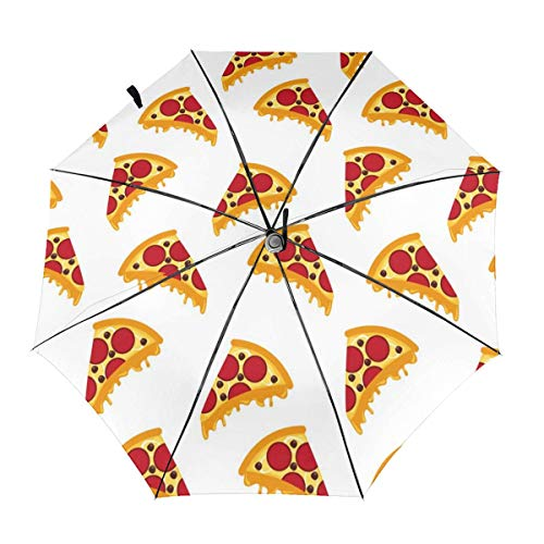 Pizza Pattern Automatic Tri-fold Umbrella Folding Rain Umbrell Sunshade