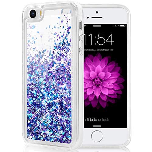 Caka iPhone 5 5S SE 2016 Case, iPhone 5S Glitter Case Luxury Fashion Bling Flowing Liquid Floating Sparkle Glitter Soft TPU Case for iPhone 5 5S SE 2016 (Blue Purple)