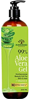 Inwood Organics 99% Pure & Organic Aloe Vera Gel, Best Multipurpose Beauty Gel for Face, Skin & Hair with Vitamin E, Parab...