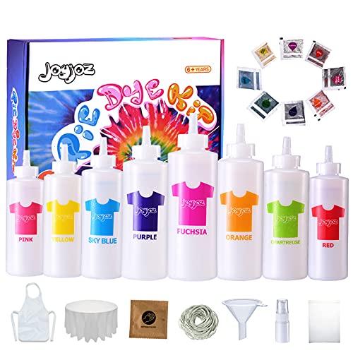 Joyjoz Tie Dye Kit, 8 Colores Permanente Tie Dye Set con 8 Bolsas de pigmentos, Bandas de Goma, Guantes, Delantal y Cubiertas de Mesa para Manualidades, Tela, Textil, Fiesta, Bricolaje, Hecho a Mano