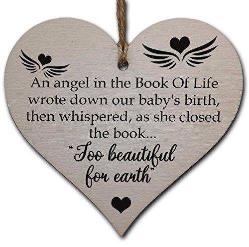 Handmade Wooden Hanging Heart Plaque Gift in Memory of Angel Baby Loving Keepsake