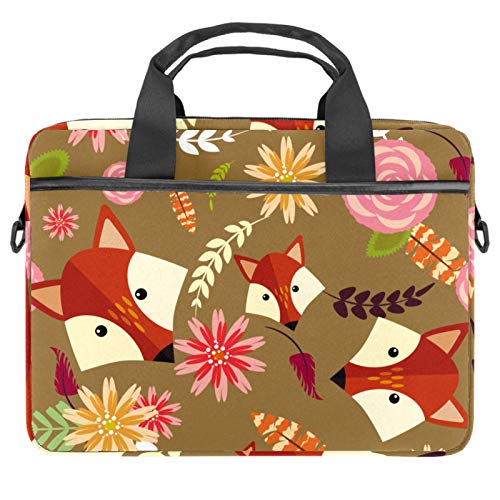 Laptop Bag Vintage Fox Floral Pattern Notebook Sleeve with Handle 13.4-14.5 inches Carrying Shoulder Bag Briefcase