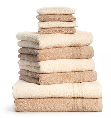 Dream Art Frottier-Pack, 3487 Fb. 0737, 10-teilig, Handtuch-Set, 2 x Duschtuch Größe 70/140, 4 x Handtuch Größe 50/100 und 4 x Waschhandschuh Größe 16 x 21 cm, creme / beige