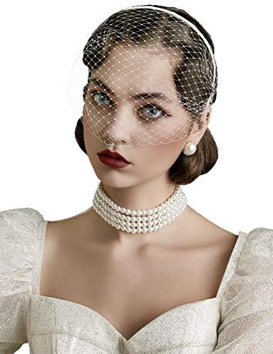 BABEYOND Damen Elegant Fascinator Schleier Haarreif 1920s Stirnband Hochzeit Cocktail Party Mystische Maske Haarreif Damen Halloween Fasching Kostüm Accessoires Weiß