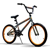 Uenjoy Youth Kids Bike with 20 inch Wheels Detachable Training Wheels and Seat Height Adjustable Bicycles for 8+ Years Old Boys & Girls, Gray+Orange