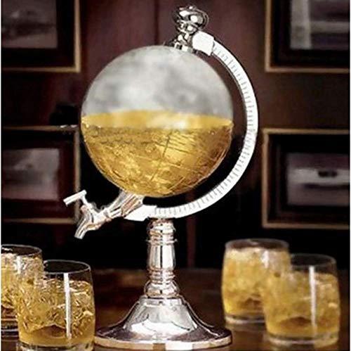 ZYYH Dispensador de Bebidas en Forma de Globo de 1 l, dispensador de Bebidas, Jarra de Whisky con Soporte Cromado y Licor de Bebidas de Grifo