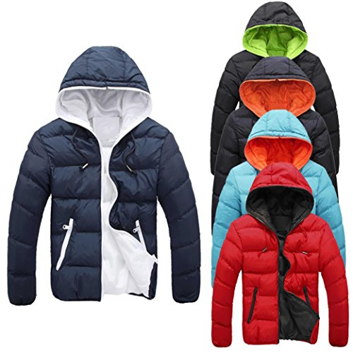 Zulmaliu Thick Hoodies Down Coat Casual Warm Jacket Men Overcoat (Green, L)