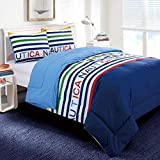 Nautica Reversible Classic Stripe 100% Fine Imported Cotton Kids Comforter Set - Full, Blue/Navy