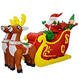 GOOSH 7Foot Christmas Inflatable Deer cart with Build-in LED Lights Indoor Outdoor Yard Lawn Party Decoration - Cute Fun Xmas Holiday Blow Up