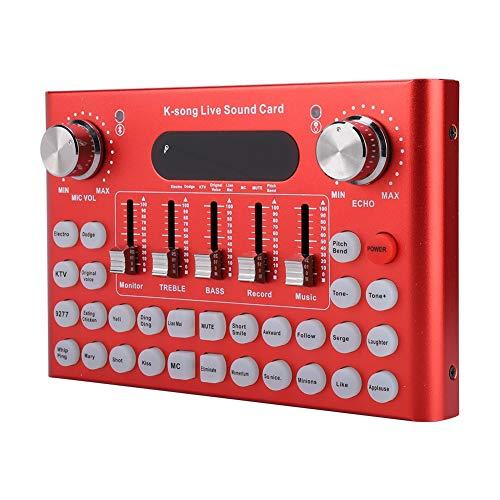 ASHATA Externe Soundkarte, Audiomixer Live-Soundkarte mit 3,5-mm-Headset-Schnittstelle 18 Soundeffekte,Bluetooth-Verbindung für die Aufnahme von DJ Network Live Broadcast Karaoke(rot)