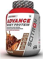 """Scitron Advance Whey Protein (57 Servings, 25.5g Protein, 6g BCAAs, 0g Sugar, 20 Vitamins & Minerals) €"""" 2kg (Milk..."""
