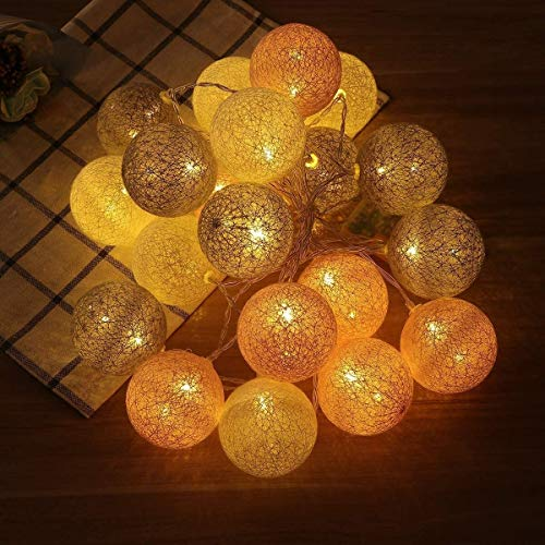 Bright Colors and Safety Lights 3M 20LED Cotton Thread Ball String Light,Fairy Lights Strings,for Birthdays, Parties, Performances, Restaurants, Simple Furniture Decoration