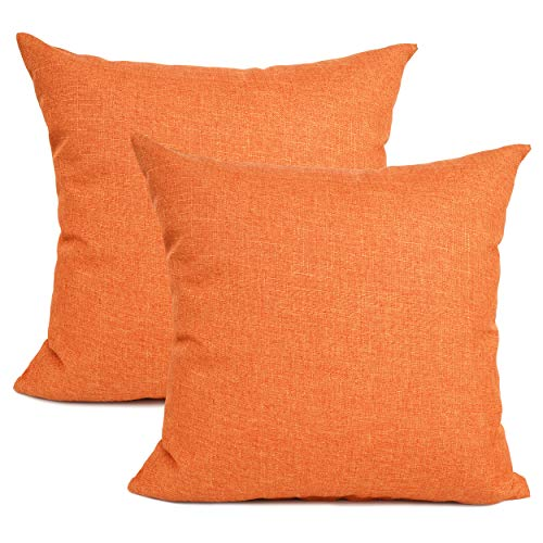 YOUR SMILE Pure Square Decorative Throw Pillows Case Cushion Covers Shell Cotton Linen Blend 22 X 22 Inches, Pack of 2 (Orange)