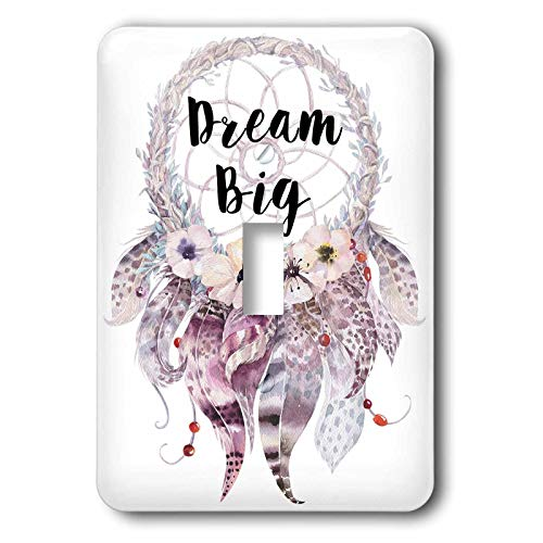 1-Gang Wall Plate Cover Decorator Wall Switch Light Plate Double Receptacle Outlet Big in A Watercolor Feathered Dream Catcher Classic Beadboard Unbreakable Faceplate